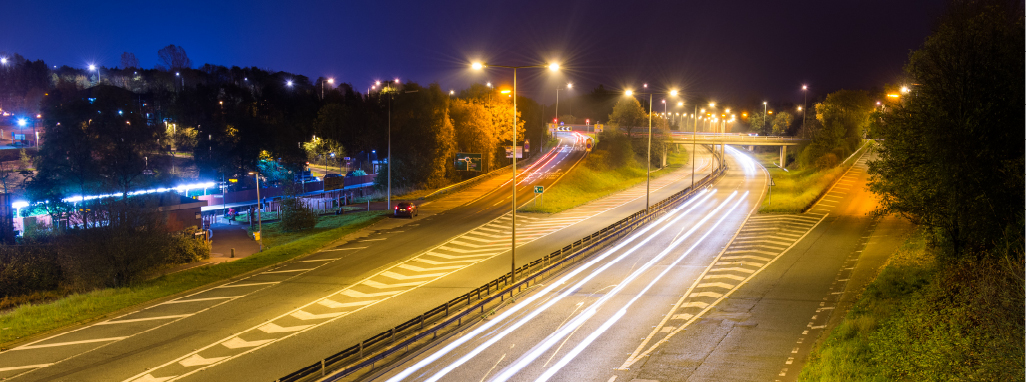 A highway at night